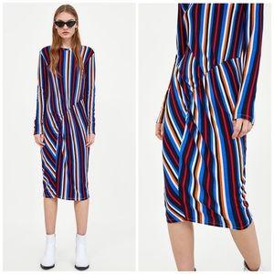 NWT Zara Vertical Striped Ribbed Midi Dress